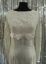 1960's White satin gown with lace top/36