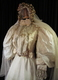 1890's Cream silk gown with puff-sleeves/32-34