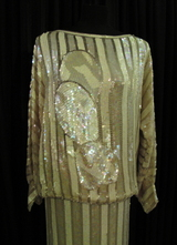 1970's Cream white sequin beaded 2-piece/40-42
