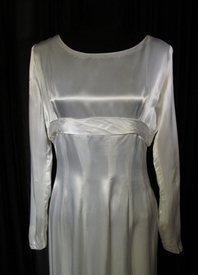 1940's White satin gown with train/38