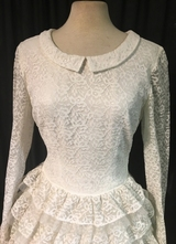 1960's White lace/tulle ruffle dress/36