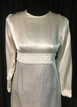 1960's White satin dress with small trim and long train/36