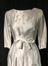 1960's White satin gown with tiny pearls/34-36