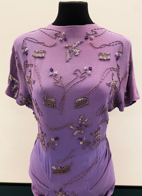1940's Purple crepe gown with beading/36