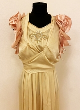 1910's Edwardian cream silk dress customized with rose leaves/36