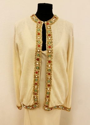 1960's Ivory cardigan with multi color beading/38-40