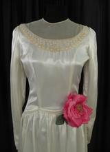1930's Cream satin gown with tulle neckline/36
