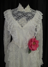 1970's White Victorian-style gown with pearls and sequins/36