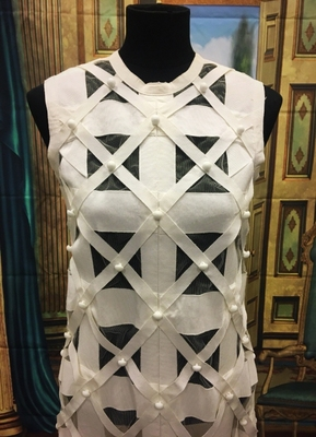 1960's White ribbon dress/36