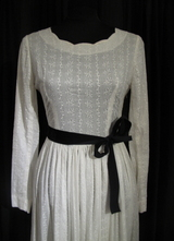 1930's White cotton embroidered gown/34-36