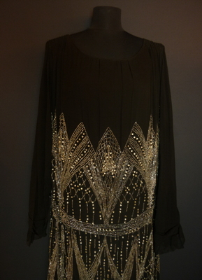 1920's Black rhinestone-beaded dress/42-44