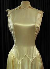 1930's Rose-cream satin gown with rhinestone lace/34-36