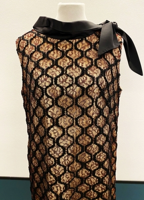 1960's Black nude lace dress with bow/42