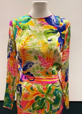 1970's-style Tropical print dress/36
