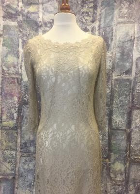 1930's-style Khaki lace gown with train/40