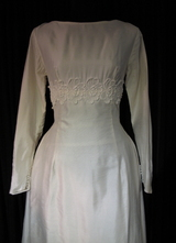 1960's White silk balloon gown/38