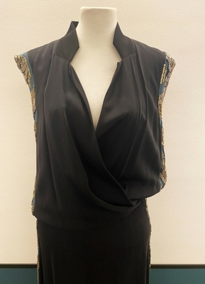 1930's-style Black green beaded gown/40