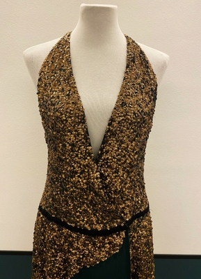 1930's-style Dark green and golden silk couture dress/38-40