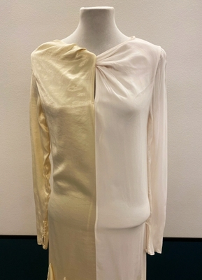 1930's-style Cream and white ruffle gown/36