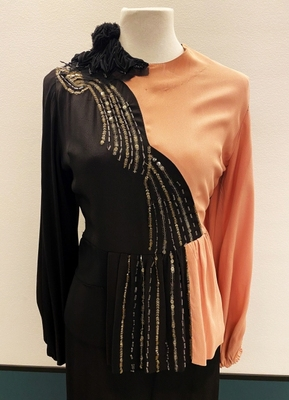 1940's Black and rose jumpsuit/36