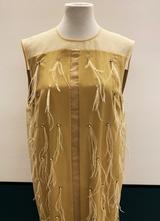 1990's Cream silk 20's-style dress/38