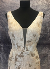 1990's Cream caramel brocade gown/40