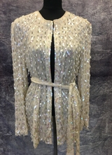 1980's Cream pearl drop beaded cardigan/38