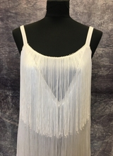 1970's White fringe gown/38