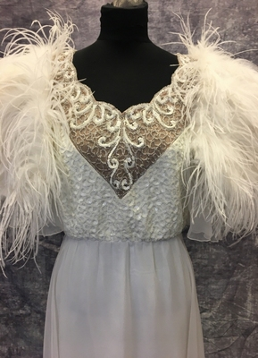1970's White chiffon gown with feathers/38