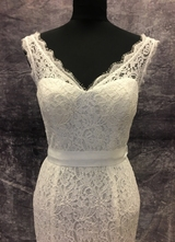 1990's White mermaid lace gown/36-38