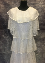 1970's White lace ruffle gown/36
