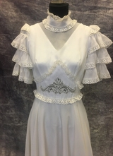 1970's White chiffon gown with ruffle top/36