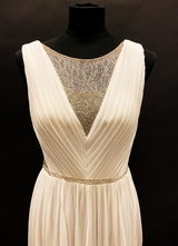 1990's White beaded chiffon gown/36-38