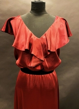 1990's Burgandy satin gown/40