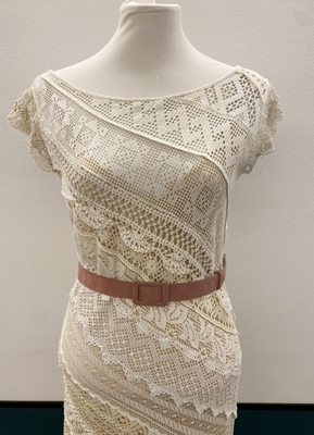 1930's-style Cream embroidery collage gown/40
