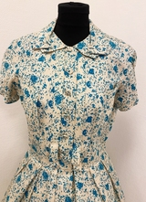1950's Ivory turquoise print dress/38