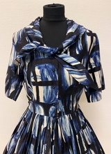 1950's Navy abstract print dress/36