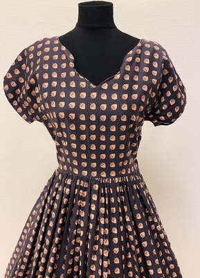 1950's Grey rose print cotton dress/36