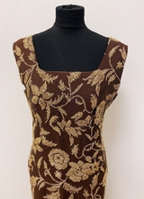 1960's Brown brocade gown/36
