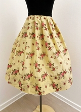 1950's-style Beige floral skirt/38