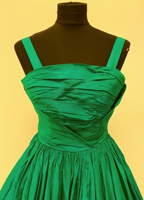 1950's Green taffeta dress/32