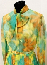 1960's Green yellow chiffon dress/38