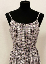 1960's Lavender check floral dress/36-38