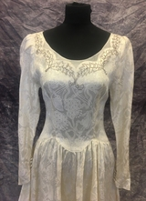 1940's Ivory brocade gown, beaded with a long train/34-36