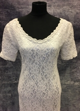 1990's White column lace dress with satin train/34