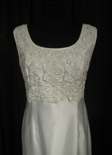 1990's 60's-style White satin gown with lace top/38