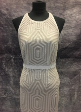 1990's White nude sequin gown/36
