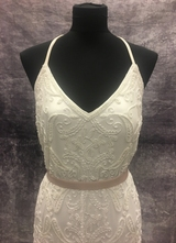 1990's White beaded tulle dress with straps/40