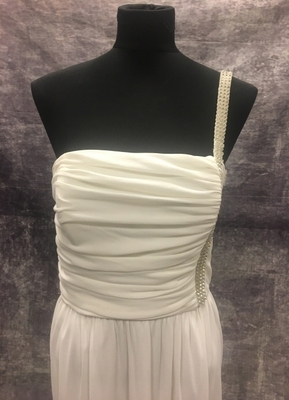 1970's Ivory draped gown with rhinestones/38-40