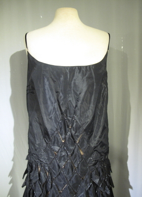 1920's Black silk couture dress with cut-outs/38